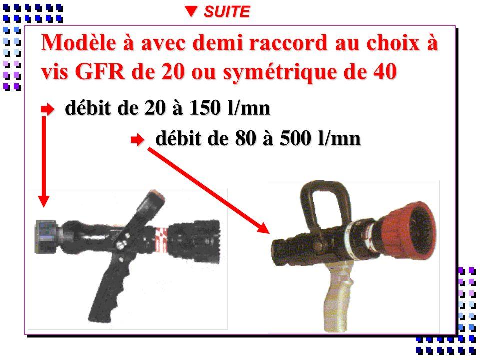 SUITE Modèle à avec demi raccord au choix à vis GFR de 20 ou symétrique de 40. débit de 20 à 150 l/mn.