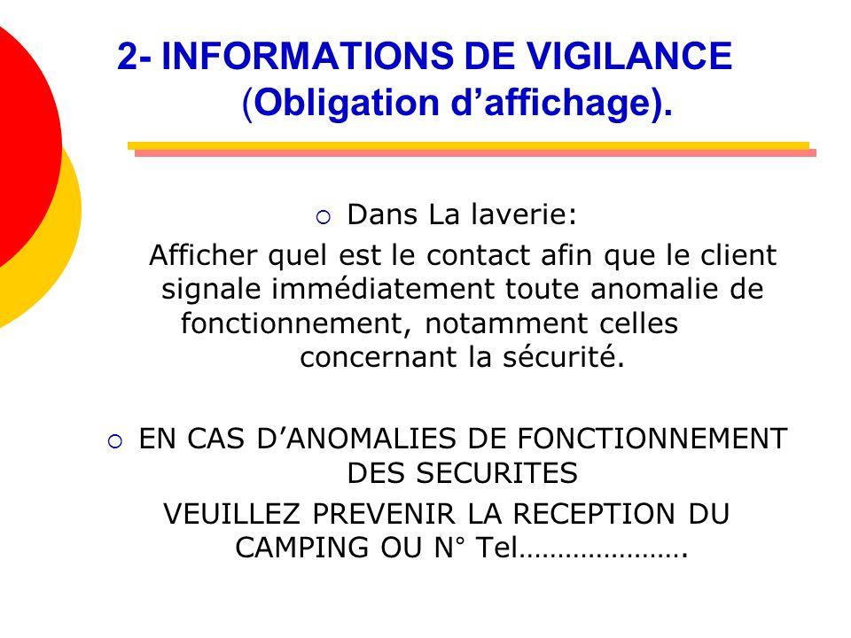 2- INFORMATIONS DE VIGILANCE (Obligation d'affichage).