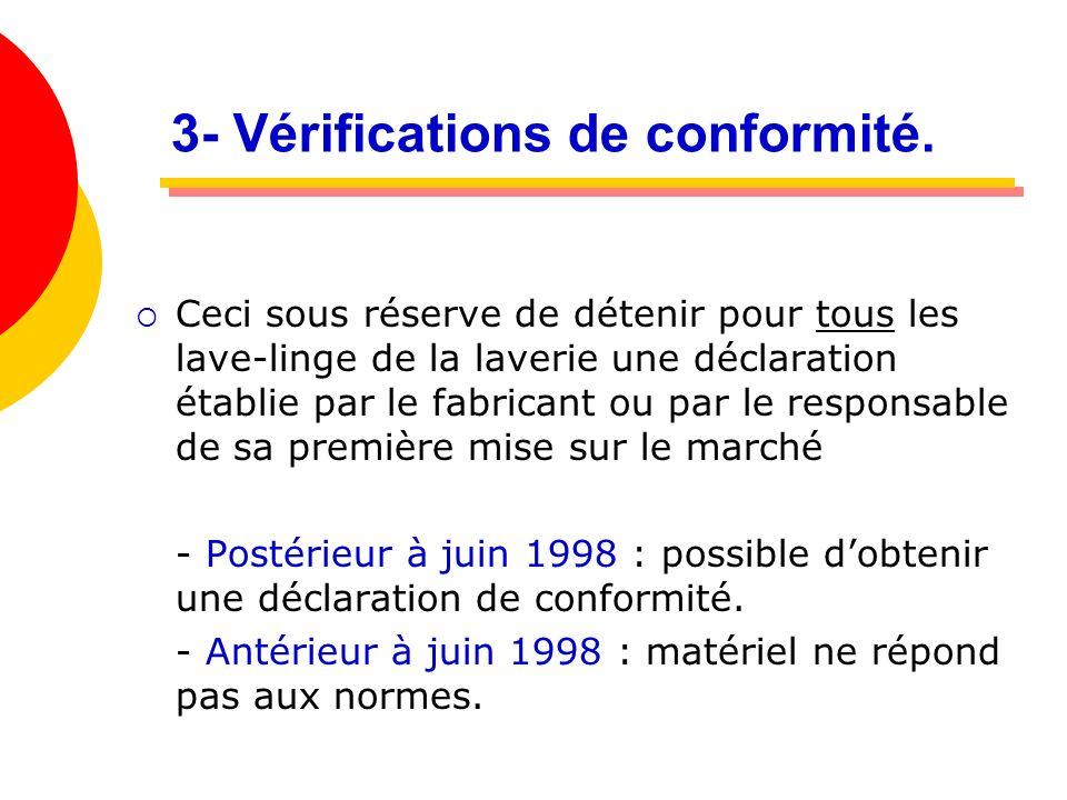 3- Vérifications de conformité.