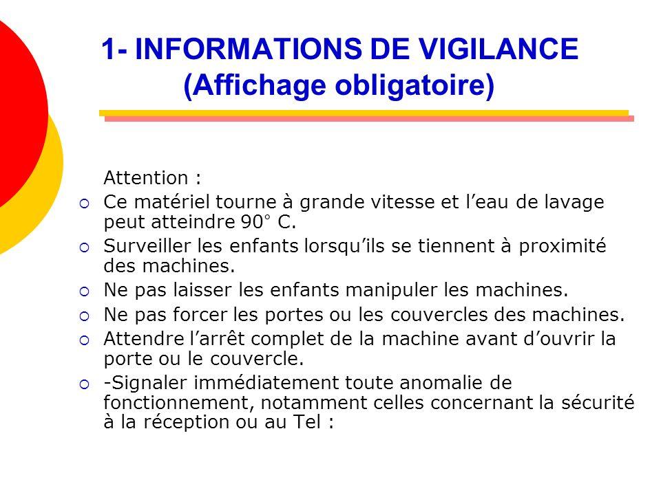 1- INFORMATIONS DE VIGILANCE (Affichage obligatoire)