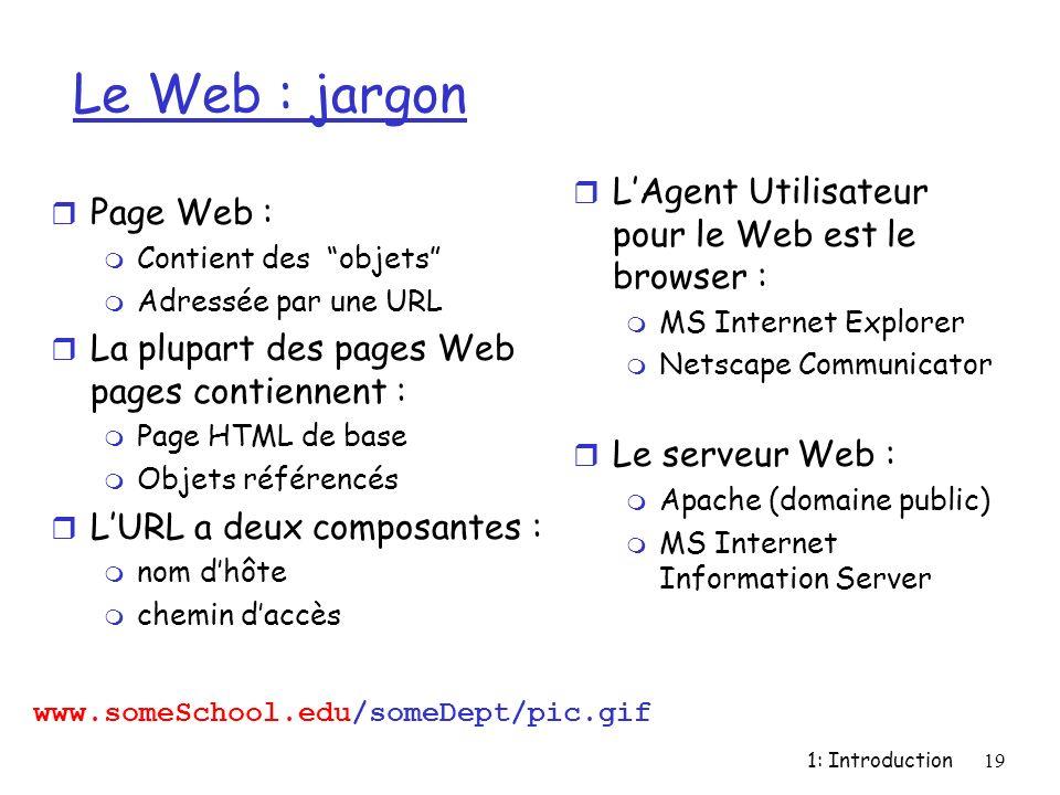 Le Web : jargon L'Agent Utilisateur pour le Web est le browser :