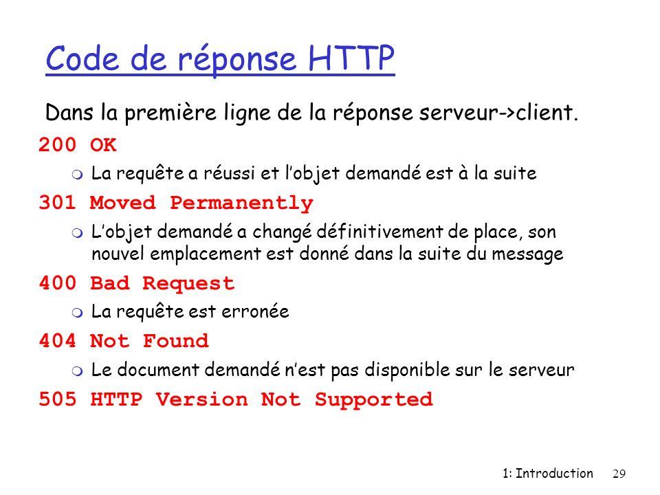 Code de réponse HTTP Dans la première ligne de la réponse serveur->client. 200 OK. La requête a réussi et l'objet demandé est à la suite.