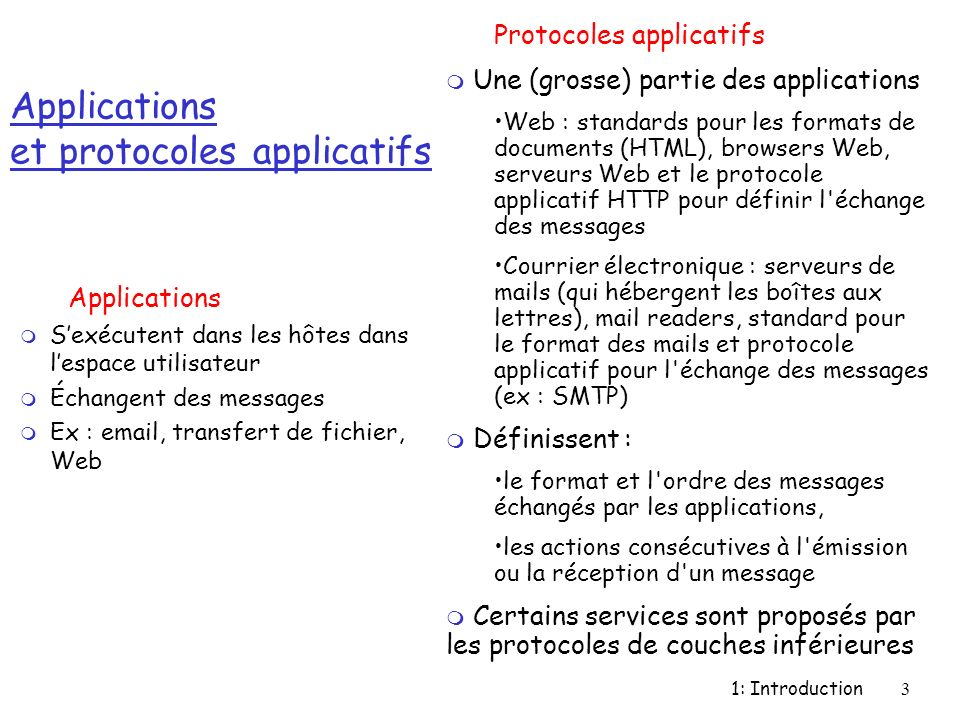 Applications et protocoles applicatifs