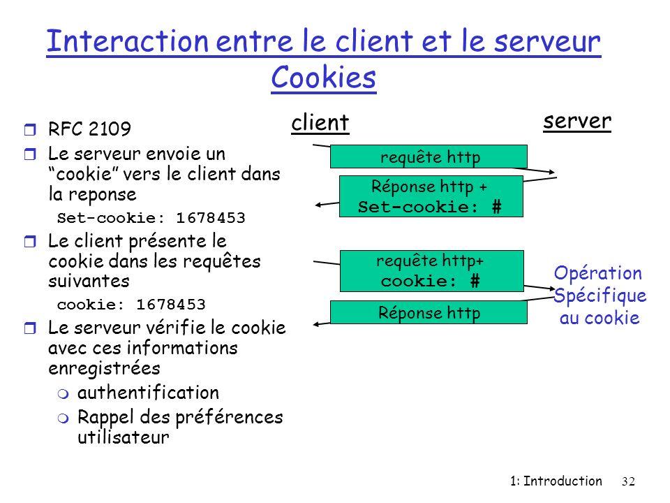 Interaction entre le client et le serveur Cookies