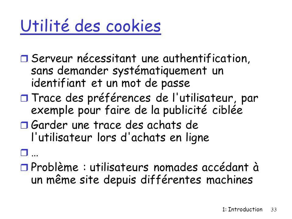 Utilité des cookies Serveur nécessitant une authentification, sans demander systématiquement un identifiant et un mot de passe.