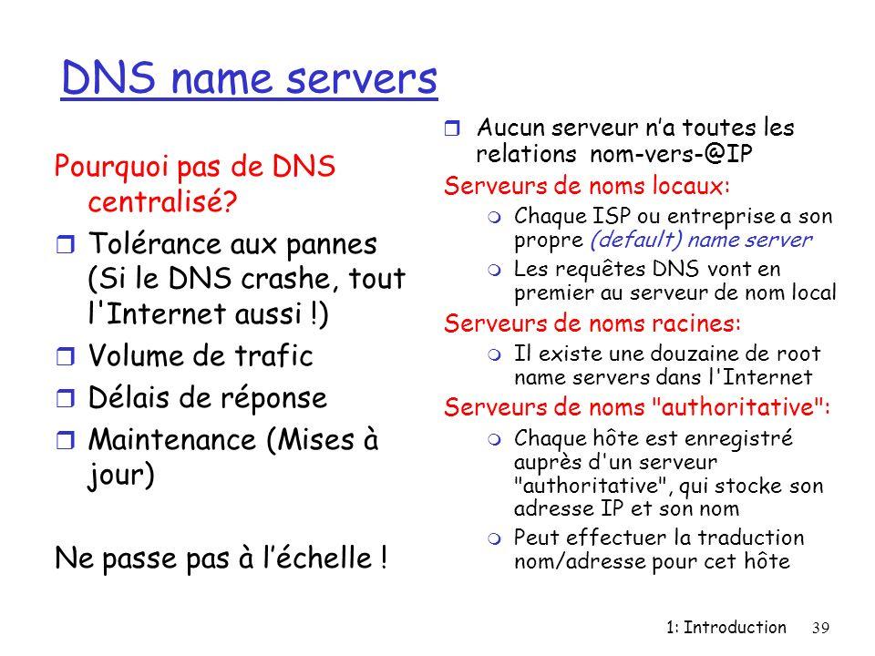 DNS name servers Pourquoi pas de DNS centralisé
