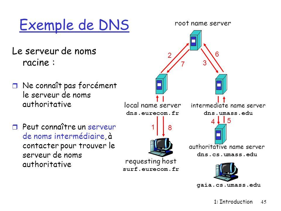 Exemple de DNS Le serveur de noms racine :