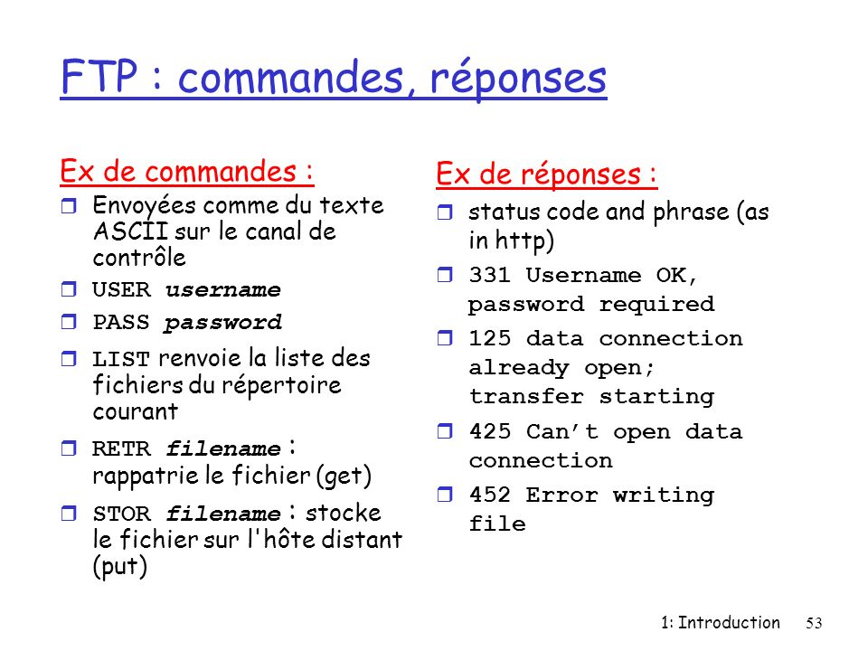 FTP : commandes, réponses