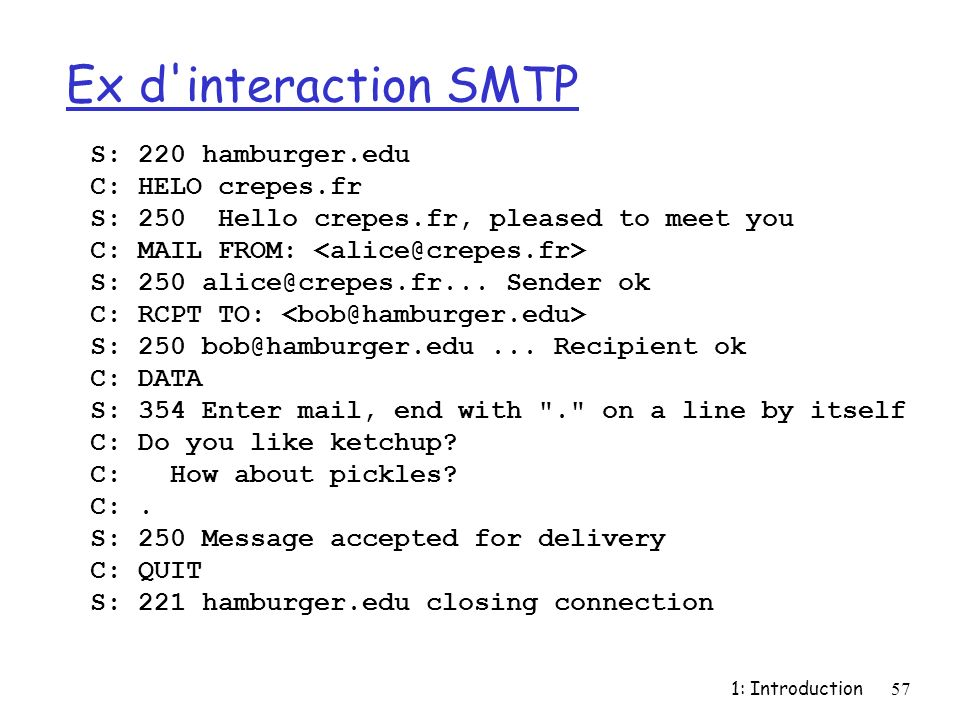 Ex d interaction SMTP S: 220 hamburger.edu C: HELO crepes.fr