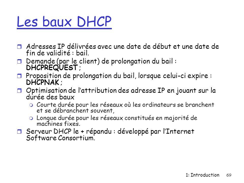 Les baux DHCP Adresses IP délivrées avec une date de début et une date de fin de validité : bail.