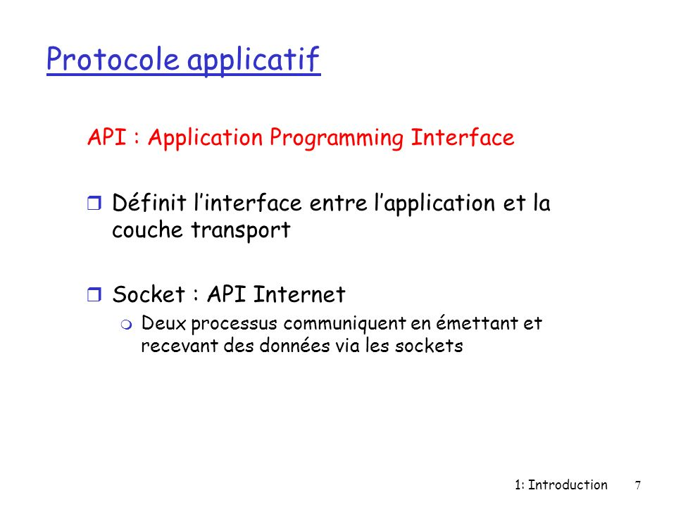 Protocole applicatif API : Application Programming Interface
