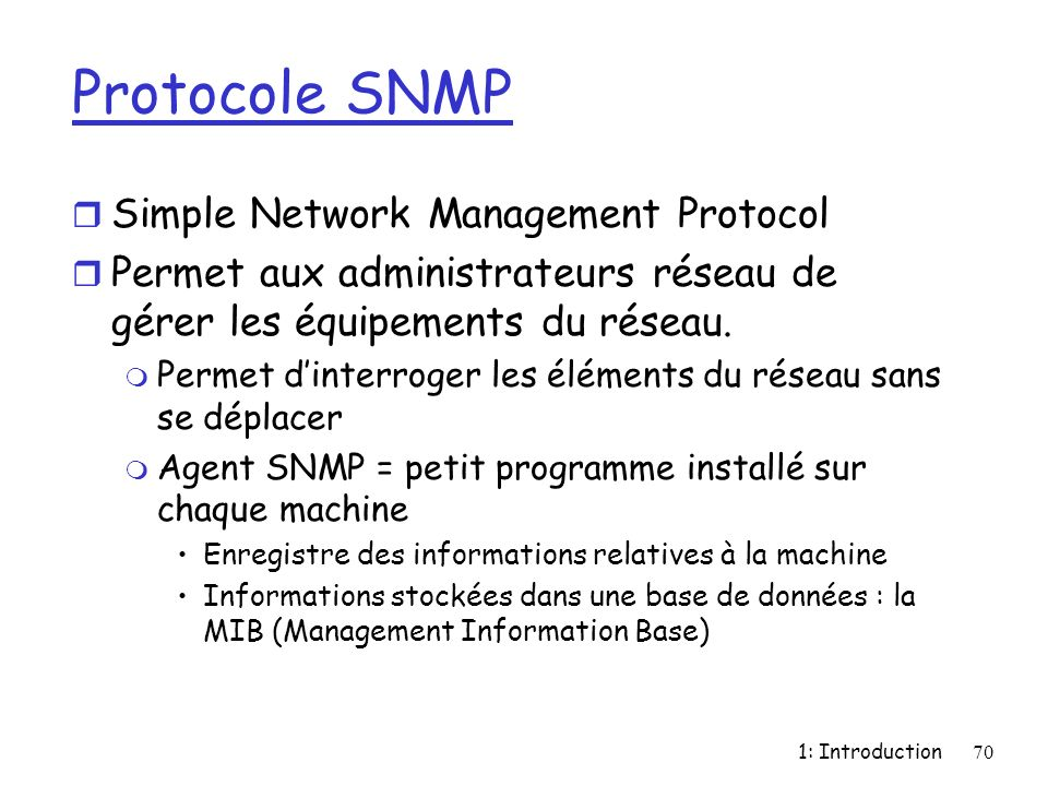 Protocole SNMP Simple Network Management Protocol