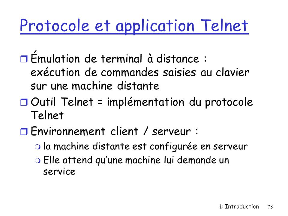 Protocole et application Telnet