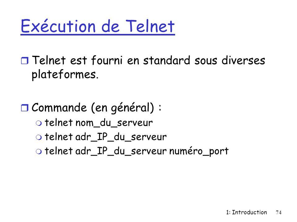 Exécution de Telnet Telnet est fourni en standard sous diverses plateformes. Commande (en général) :