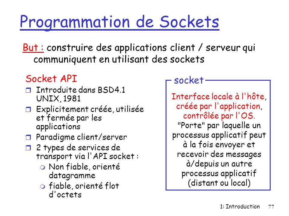 Programmation de Sockets