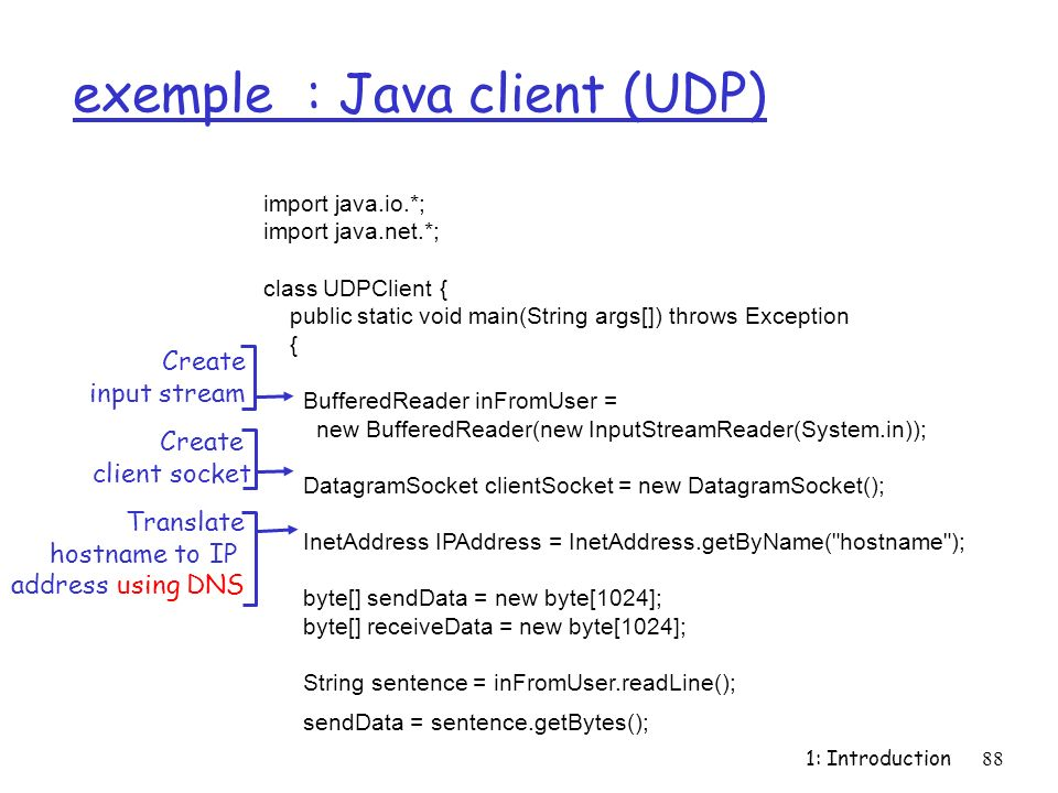 exemple : Java client (UDP)