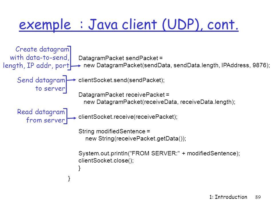 exemple : Java client (UDP), cont.