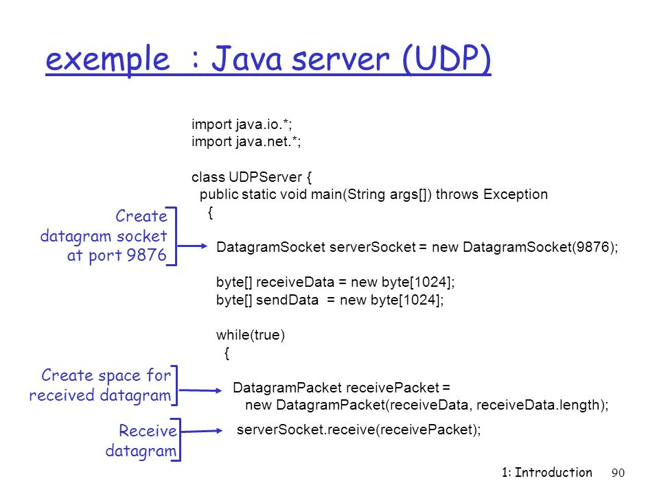 exemple : Java server (UDP)