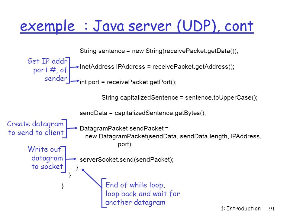 exemple : Java server (UDP), cont