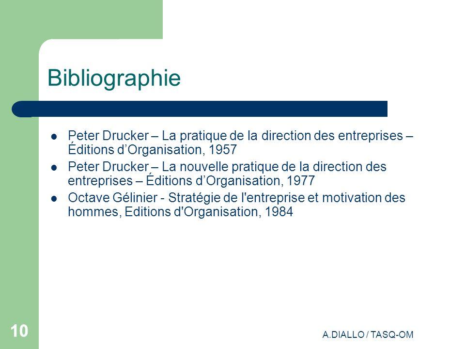 Bibliographie Peter Drucker – La pratique de la direction des entreprises – Éditions d'Organisation, 1957.