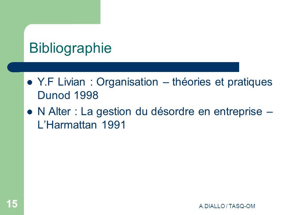 Bibliographie Y.F Livian : Organisation – théories et pratiques Dunod 1998. N Alter : La gestion du désordre en entreprise – L'Harmattan 1991.