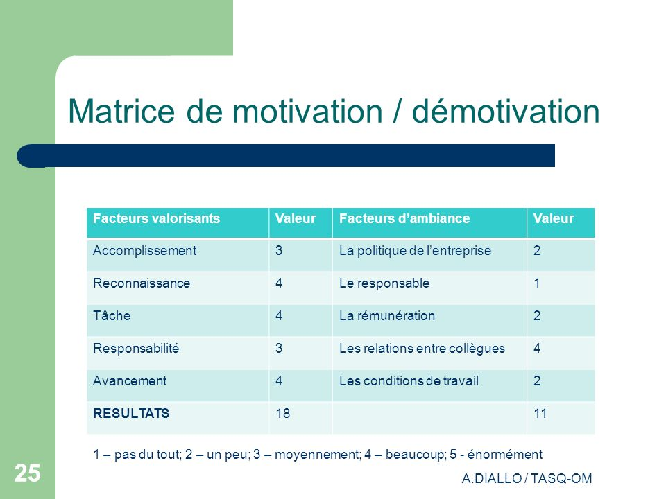 Matrice de motivation / démotivation
