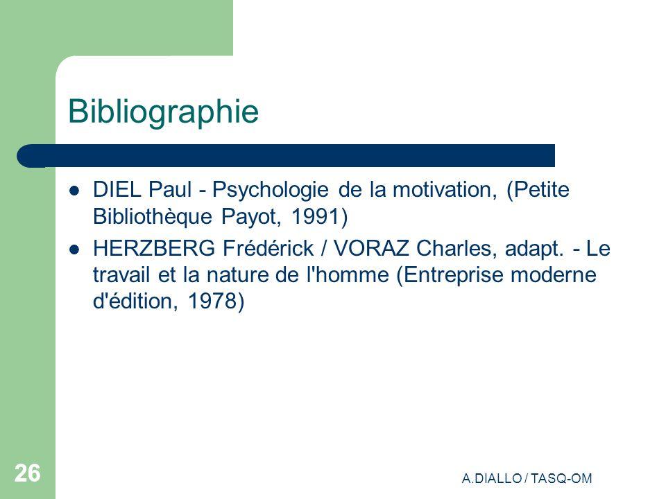 Bibliographie DIEL Paul - Psychologie de la motivation, (Petite Bibliothèque Payot, 1991)