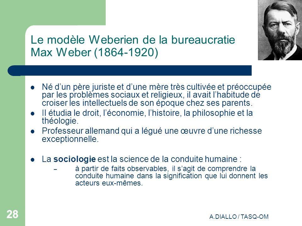Le modèle Weberien de la bureaucratie Max Weber (1864-1920)
