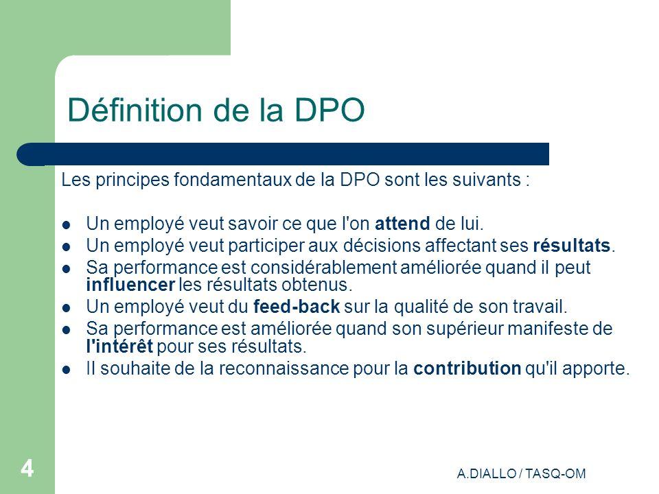 Définition de la DPO Les principes fondamentaux de la DPO sont les suivants : Un employé veut savoir ce que l on attend de lui.