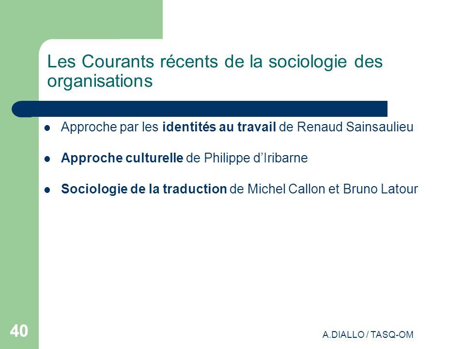 Les Courants récents de la sociologie des organisations