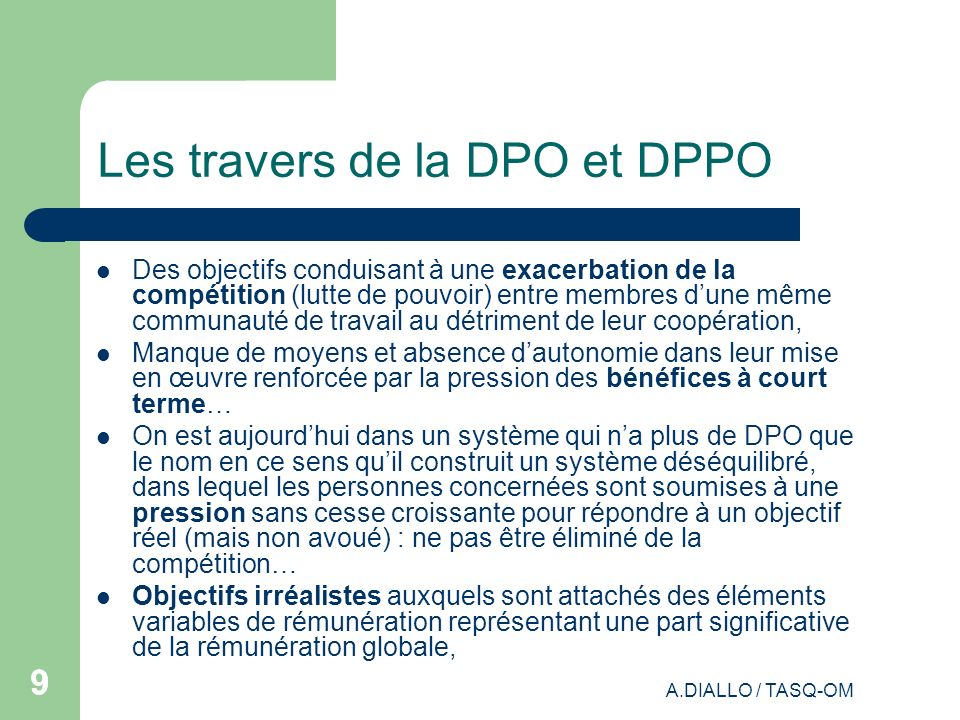 Les travers de la DPO et DPPO