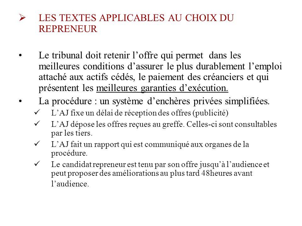 LES TEXTES APPLICABLES AU CHOIX DU REPRENEUR