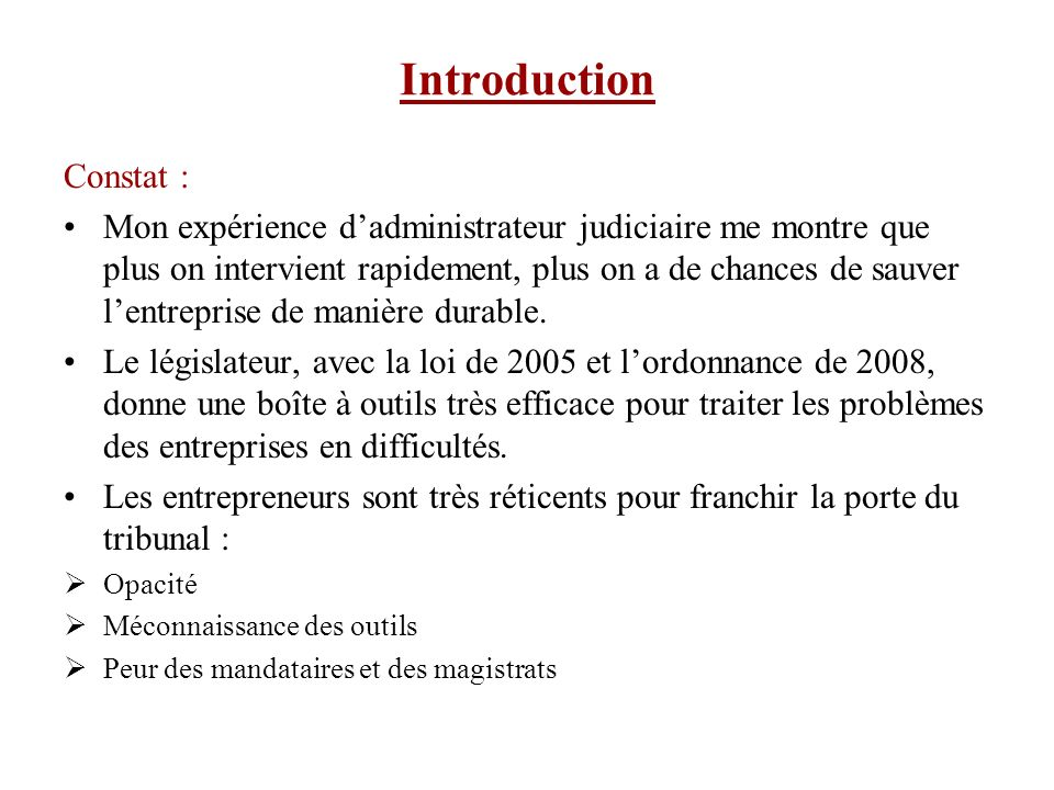 Introduction Constat :