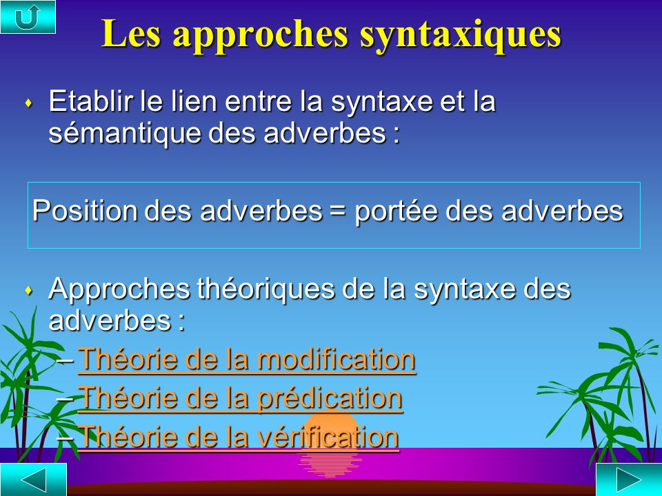 Les approches syntaxiques