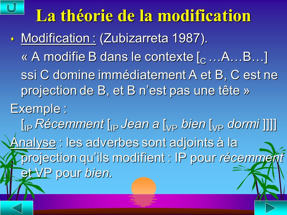 La théorie de la modification