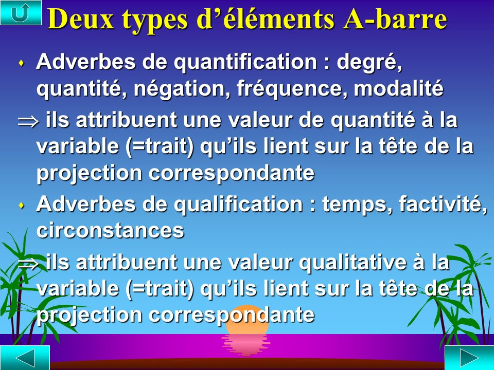 Deux types d'éléments A-barre
