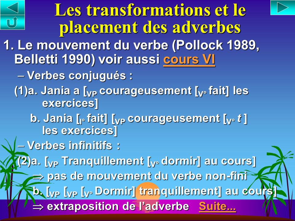 Les transformations et le placement des adverbes