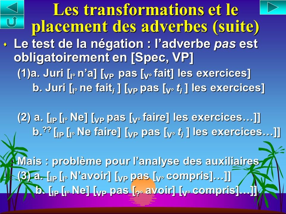 Les transformations et le placement des adverbes (suite)