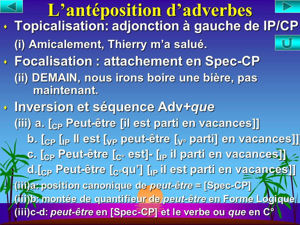 L'antéposition d'adverbes