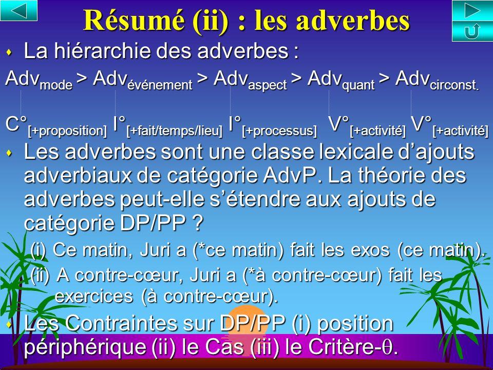 Résumé (ii) : les adverbes