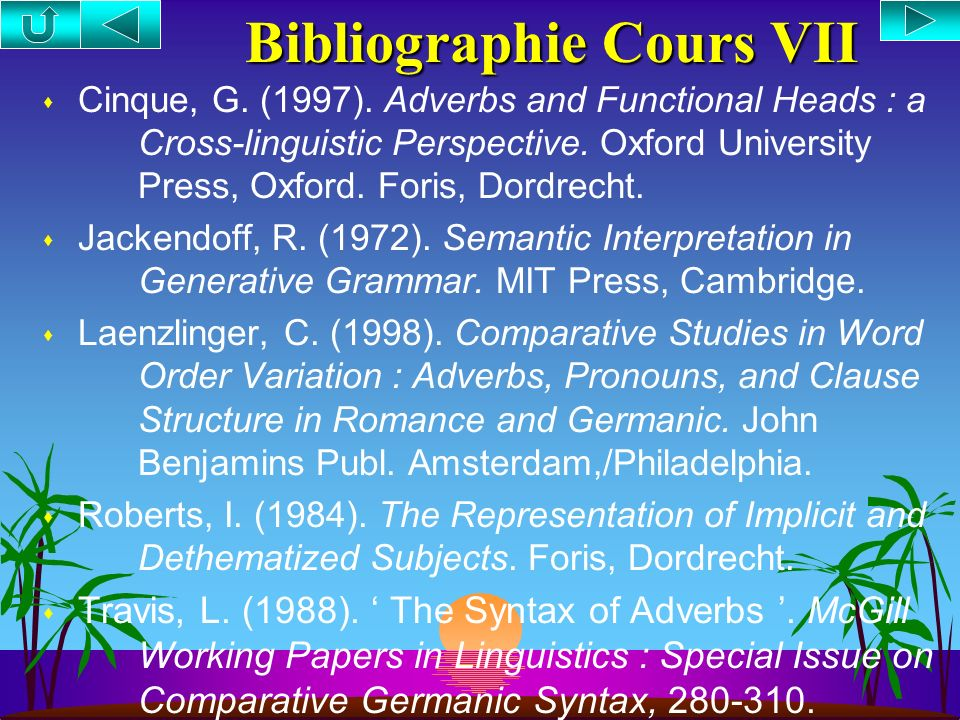 Bibliographie Cours VII