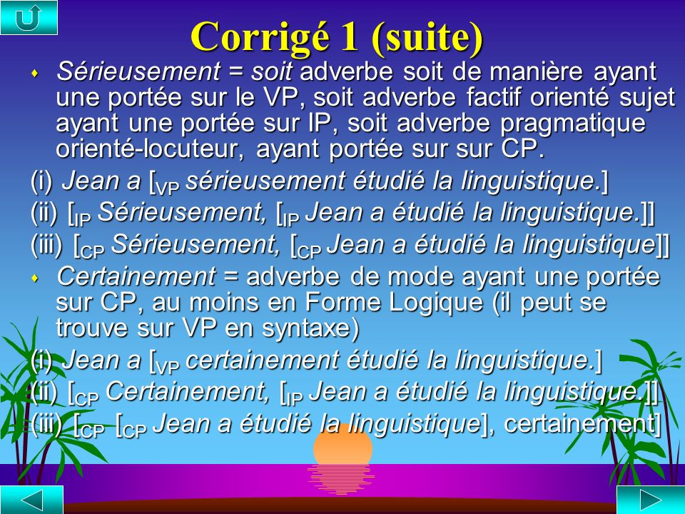Corrigé 1 (suite)