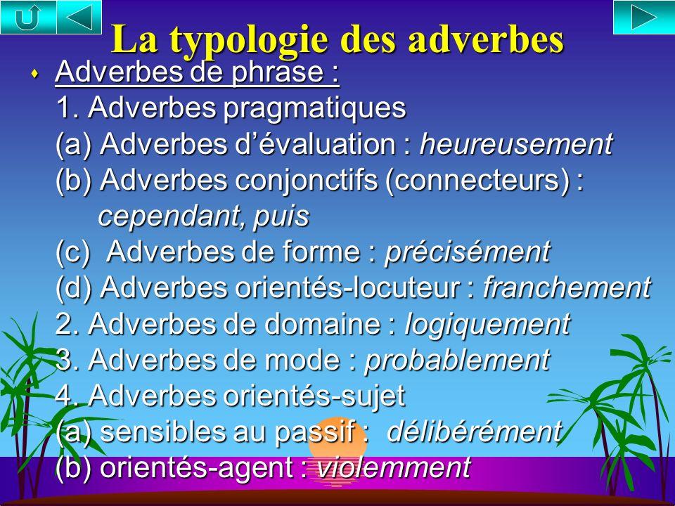 La typologie des adverbes