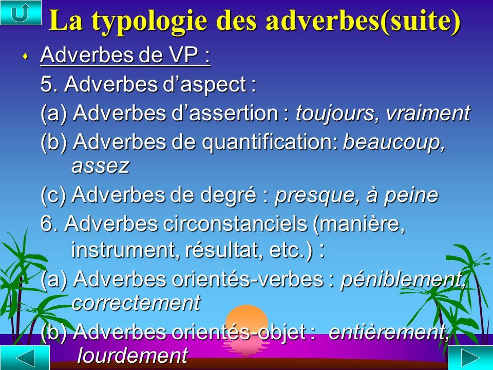 La typologie des adverbes(suite)