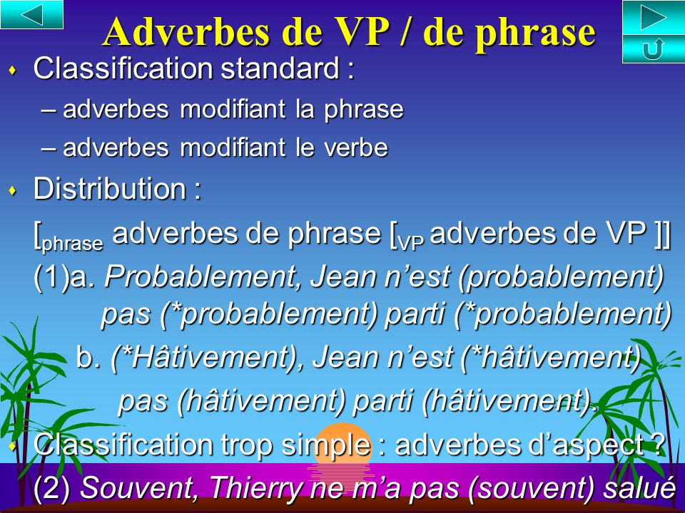 Adverbes de VP / de phrase