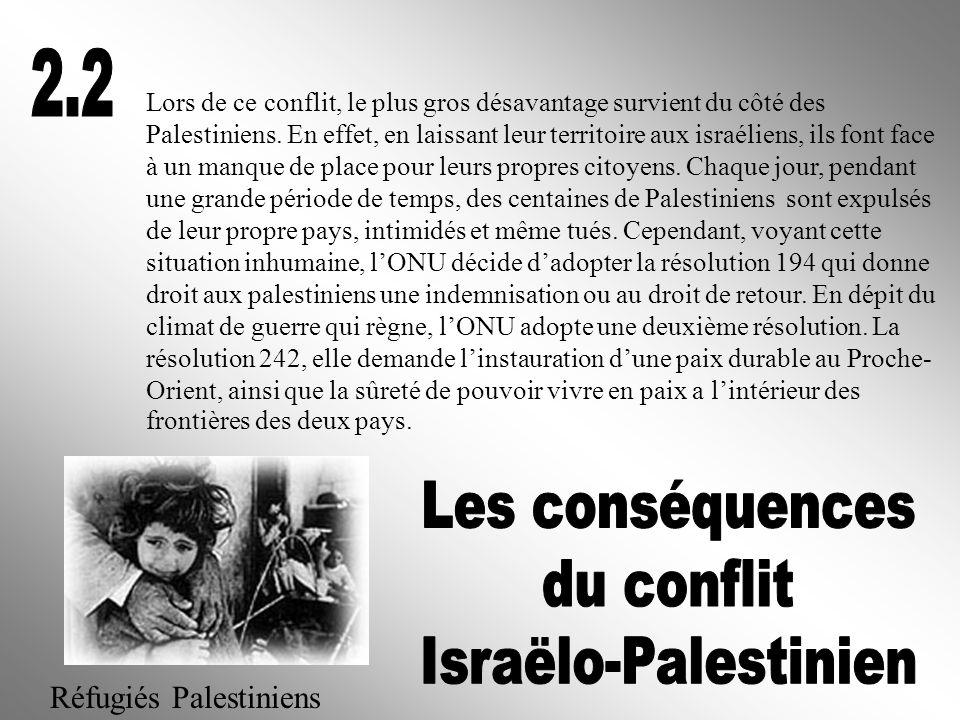 2.2 Les conséquences du conflit Israëlo-Palestinien