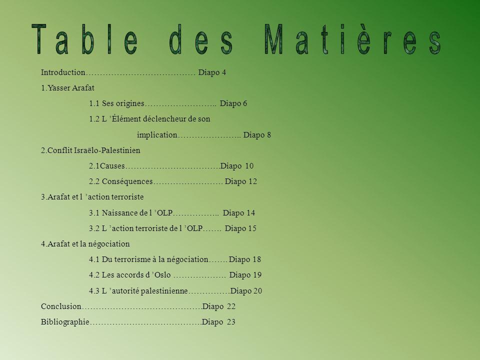 Table des Matières Introduction………………………………… Diapo 4 1.Yasser Arafat