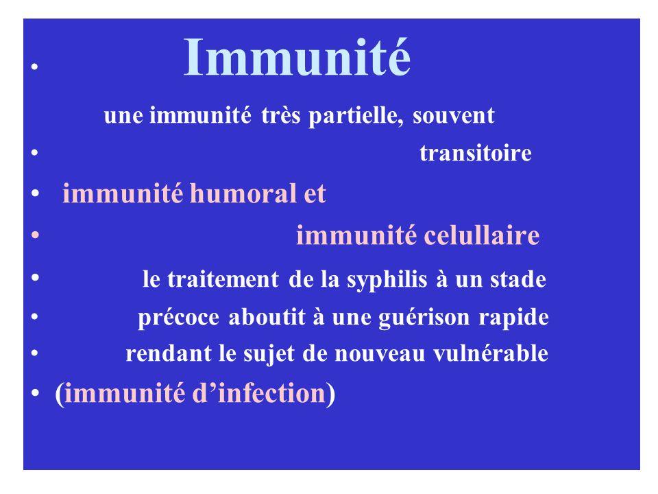 une immunité très partielle, souvent immunité humoral et