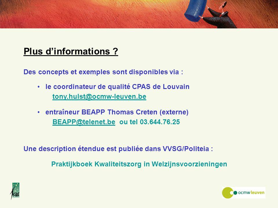 Plus d'informations Des concepts et exemples sont disponibles via :