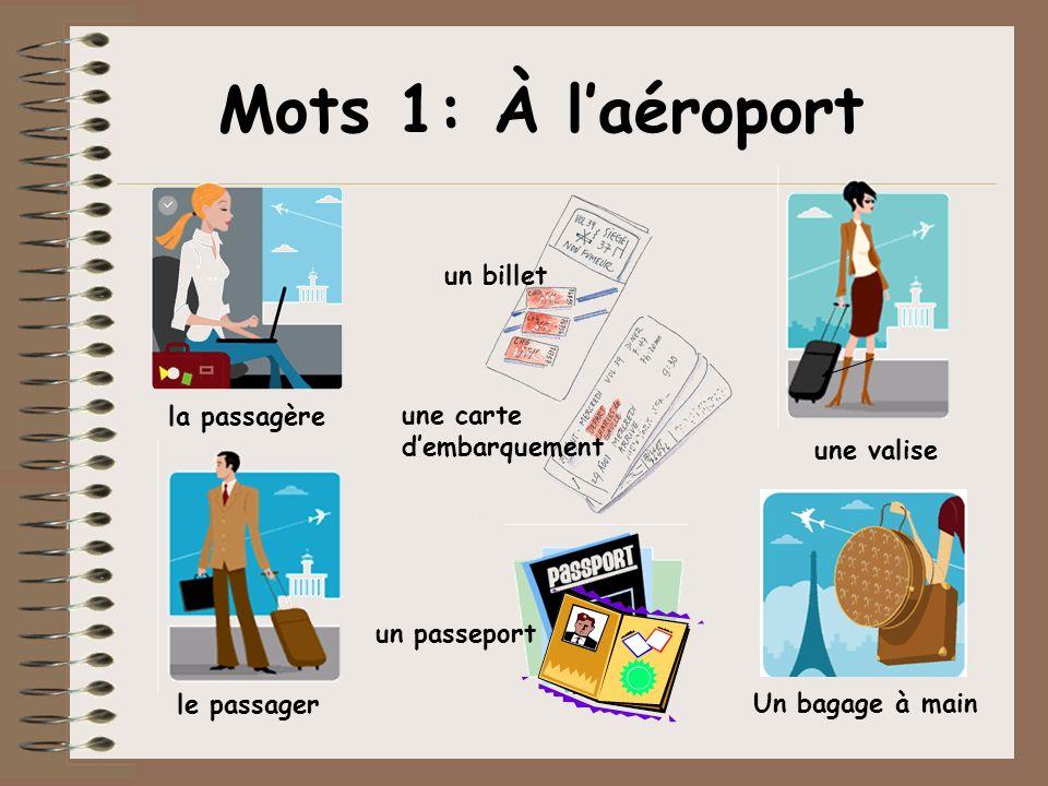 Mots 1: À l'aéroport un billet la passagère une carte d'embarquement